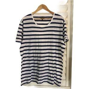 Witchery Size XXL White and Blue Striped T-shirt
